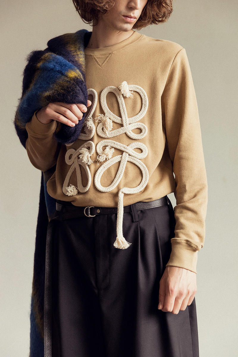 LOEWE Fall/Winter 2018 Jonathan JW Anderson Editorial Dinosaur Forest Green Rope Anagram Sweatshirt Beige Shoes Trainers Sneakers Kicks Fashion Clothing Cop Purchase Buy Available HBX