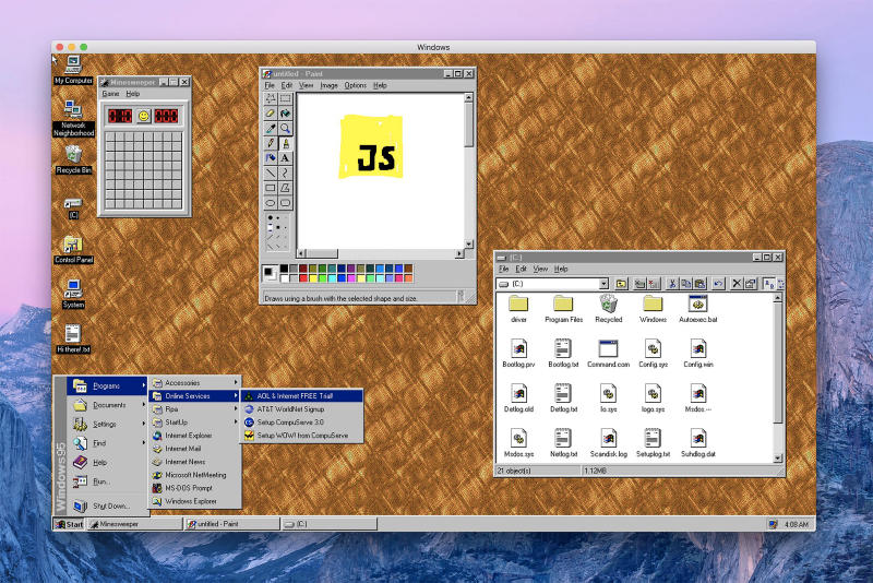 Microsoft Windows 95 Application Download Details Apple iMac macOS Mac Linux Electronic Version Pain Wordpad Minesweeper