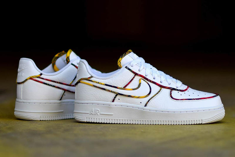 Nike Air Force 1 Low Tartan Prints white leather University Red Amarillo sneakers