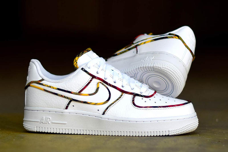 check out ac155 7d986 Nike Air Force 1 Low Tartan Prints white leather University Red Amarillo  sneakers