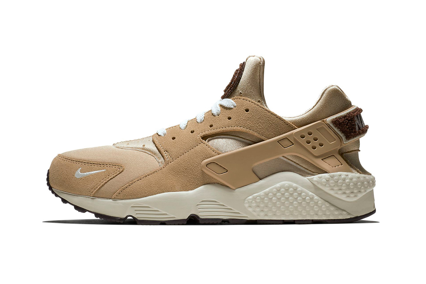 Nike Air Huarache Premium Release Date sneaker price info purchase chenille  logo branding mini swoosh colorway