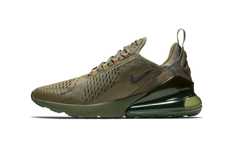 wholesale dealer 8555a 2e271 Nike Air Max 270 Triple Olive Release swoosh brown green