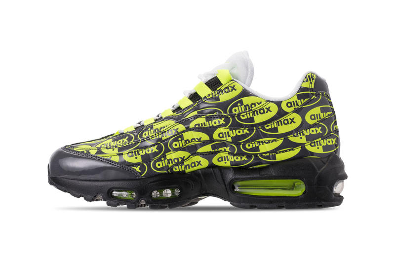 c0e35e732469 Nike Air Max 95 All over Logo Print volt premium colorway black drop  release date info