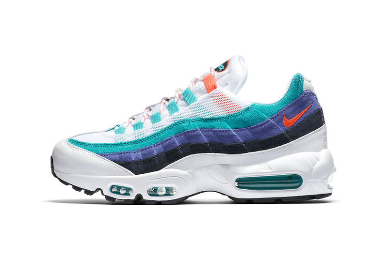 sports shoes 25cb5 6d4cc Bold and bright for Summer. Nike Air Max 95 White Teal Sneaker Details  Flash Crimson Hyper Jade Shoes Trainers Kicks Footwear
