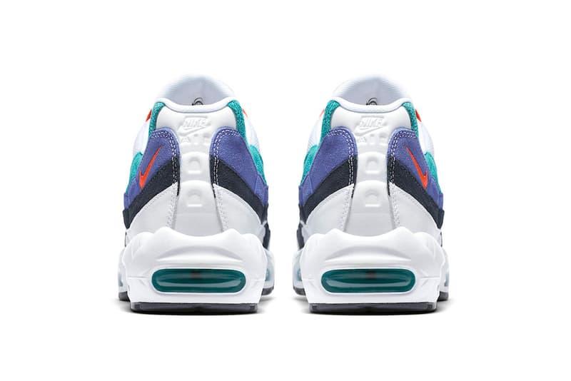 1710bef442 Nike Air Max 95 White Teal Sneaker Details Flash Crimson Hyper Jade Shoes  Trainers Kicks Footwear