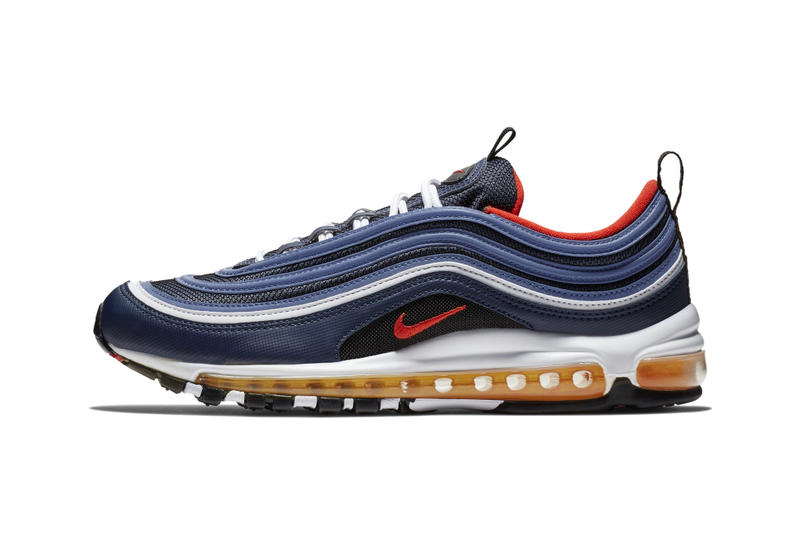 Nike Air Max 97 Midnight Navy Habanero Red Release info sneaker colorway date price navy red yellow