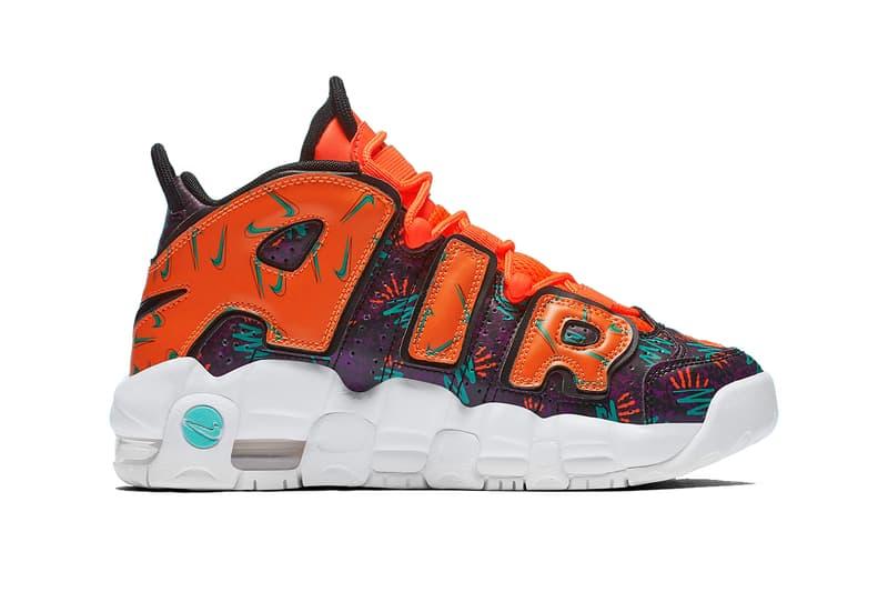 nike air more uptempo gs mismatched 2018 nike sportswear footwear total orange black hyper jade bordeaux