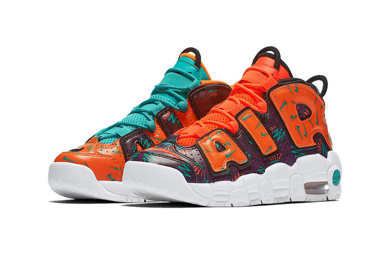 nike air more uptempo gs mismatched 2018 nike sportswear footwear total  orange black hyper jade bordeaux fc8ebd235