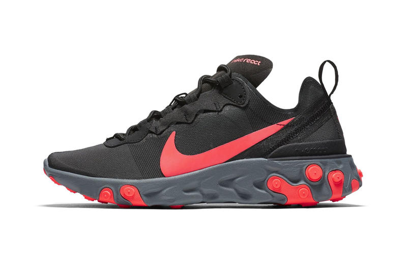 nike react element 55 first look colorways Black Cool Grey Dark Grey Solar Red