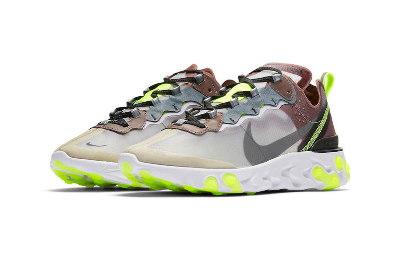 Nike React Element 87 Dark Grey Desert Sand Official Release Date Cool Grey Smokey Mauve Maroon Volt Pure Platinum Photo Blue
