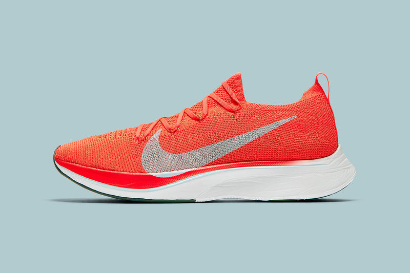 a4cfef6db4a8 Nike Vaporfly 4% Flyknit Detailed Look Bright Crimson Ice Blue White