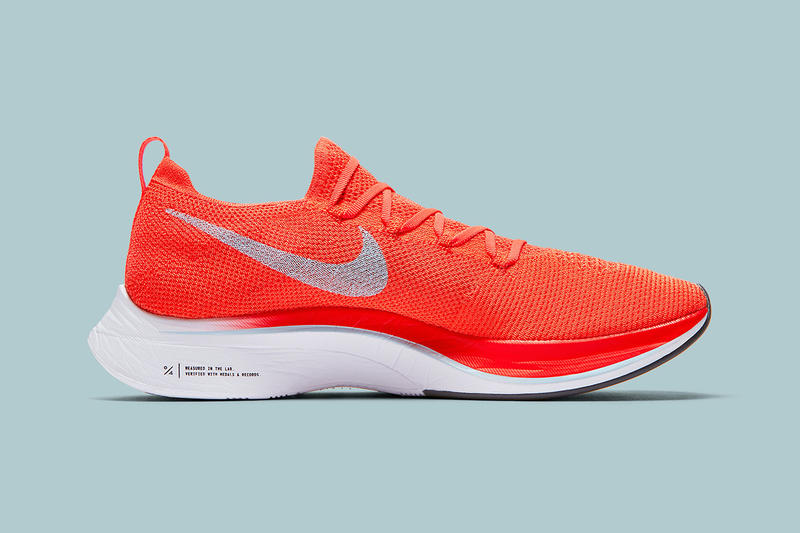 4a3c36f65f3 Nike Vaporfly 4% Flyknit Detailed Look Bright Crimson Ice Blue White