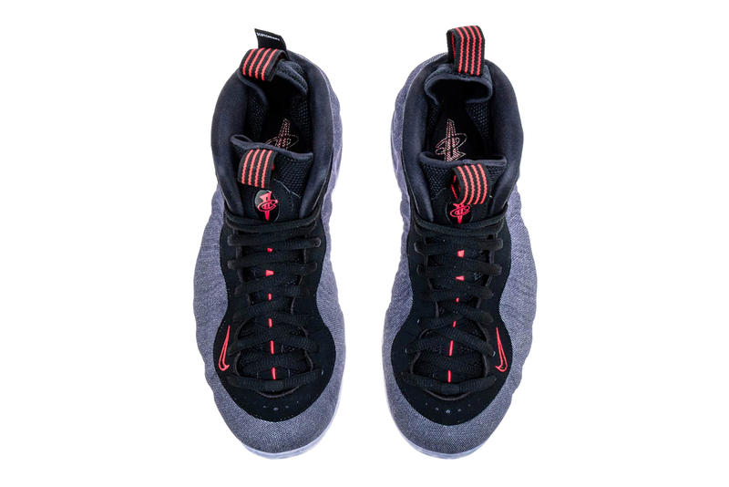 Nike Air Foamposite One Denim Release Date Obsidian Black University Red sneaker colorway