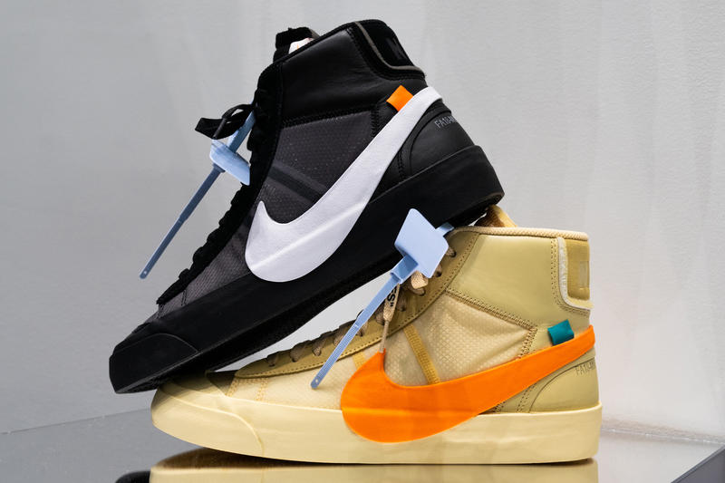 Off-White Nike Blazer Spooky Pack Closer Look blazer orange black collaboration release drop date cop purchase buy sale sell all hallows eve grim reepers name official confirm high