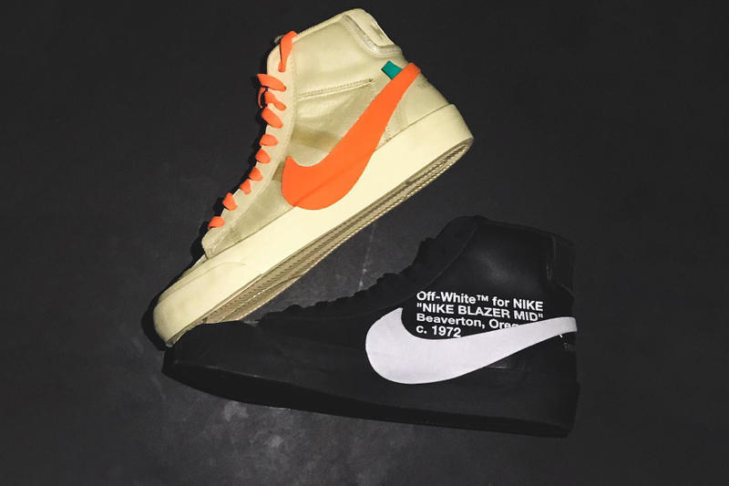 virgil abloh off white nike blazer orange black collaboration release drop date cop purchase buy sale sell all hallows eve grim reepers name official confirm high