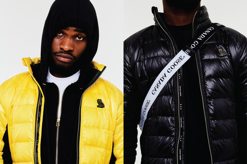ovo canada goose collaboration fall winter 2018 hybridge jacket yellow white orange black drake august 24 drop release date look info news sneak peak colorways price retail buy sale sell padded shoulder cross body bag transformable Electric Blaze Electric Fizz White Noise