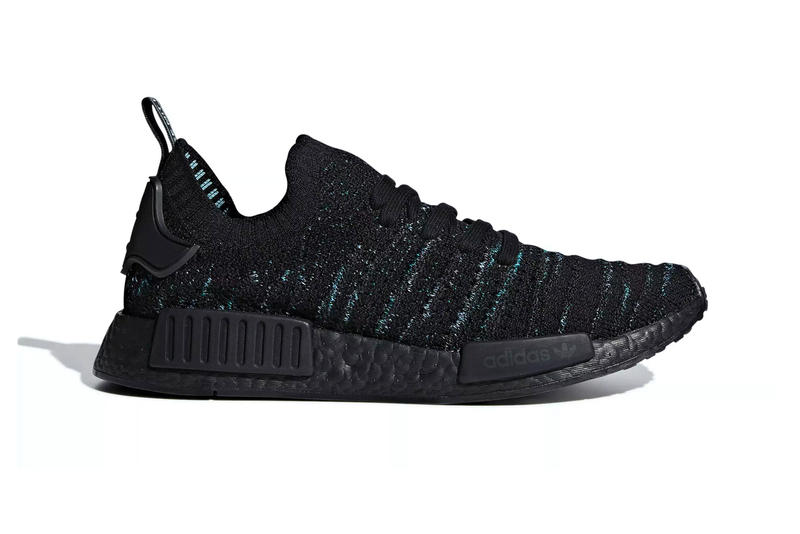 """Parley x adidas NMD_R1 """"Core Black/Blue Spirit"""" release date sneaker recycled plastic info price black blue green parley for the oceans"""