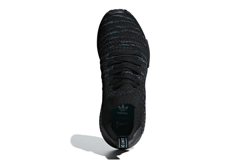 "Parley x adidas NMD_R1 ""Core Black/Blue Spirit"" release date sneaker recycled plastic info price black blue green parley for the oceans"