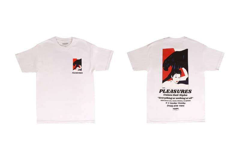 Patrick Nagel PLEASURES Capsule Collection Arrested Salon Destination Blindfold Short Long Sleeve T Shirt Hoodie Crewneck Alex James