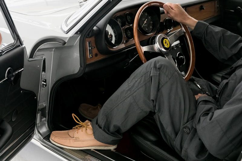 Period Correct yuketen collaboration driving shoes yuki matsuda leather beige kiltie california lookbook Ferrari 330 GT 2 2 footwear exclusive drop release date