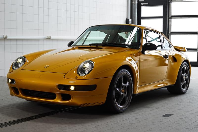 porsche 1998 911 turbo 993 project gold restoration upgrade body 450 horsepower flat six engine golden yellow metallic paint job exclusive auction october 27 2018 sothebys