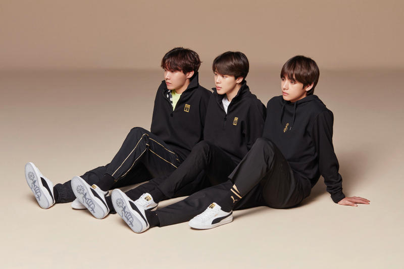 PUMA Korean Boy Band BTS Basket Silhouette black gold white leather
