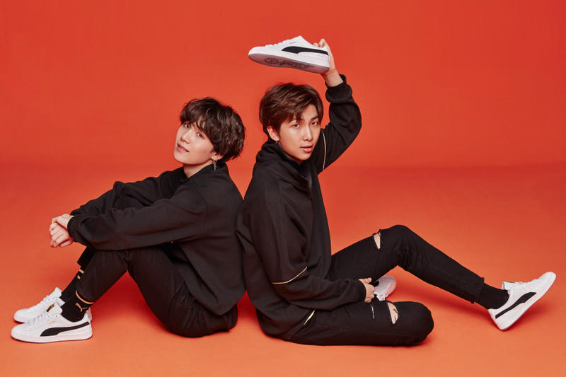 PUMA Korean Boy Band BTS Basket Silhouette black gold white leather