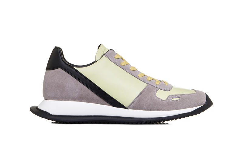 rick owens vintage lace up runner lime light yellow pearl beige