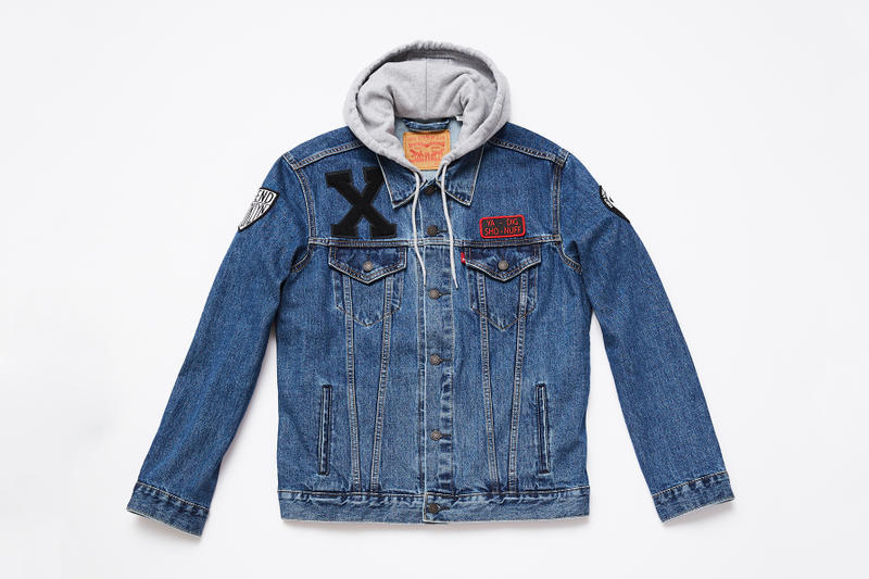 de1abf4d447 spike lee levis trucker jacket collaboration washed blue denim black jean  hoodie sweater patches sho nuff