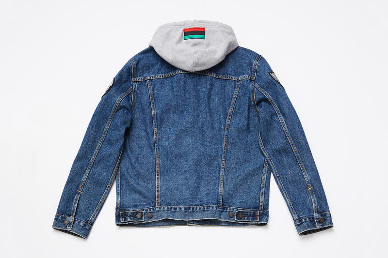 spike lee levis trucker jacket collaboration washed blue denim black jean hoodie sweater patches sho nuff ya dig august 9 2018 release date drop buy purchase sale sell defend brooklyn indigo