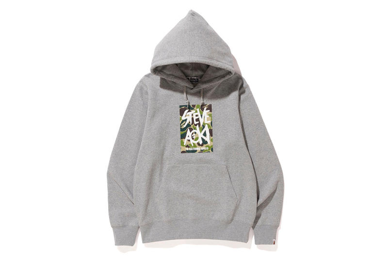 Steve Aoki BAPE Capsule Collection Green Camo DJ collaboration hoodie tee shirt graphic ape head grey black white