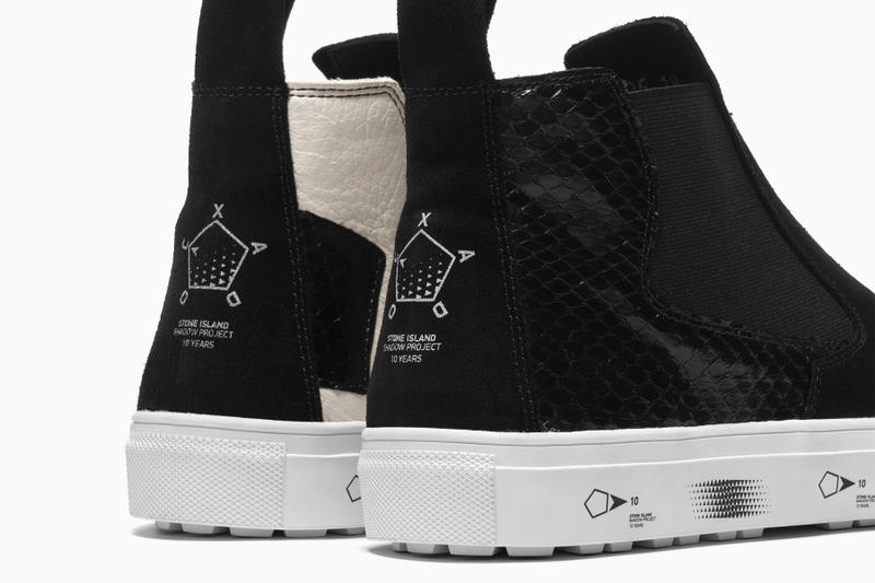 Stone Island Shadow Project 10 Year Anniversary Slip on boot Black Suede Snakeskin