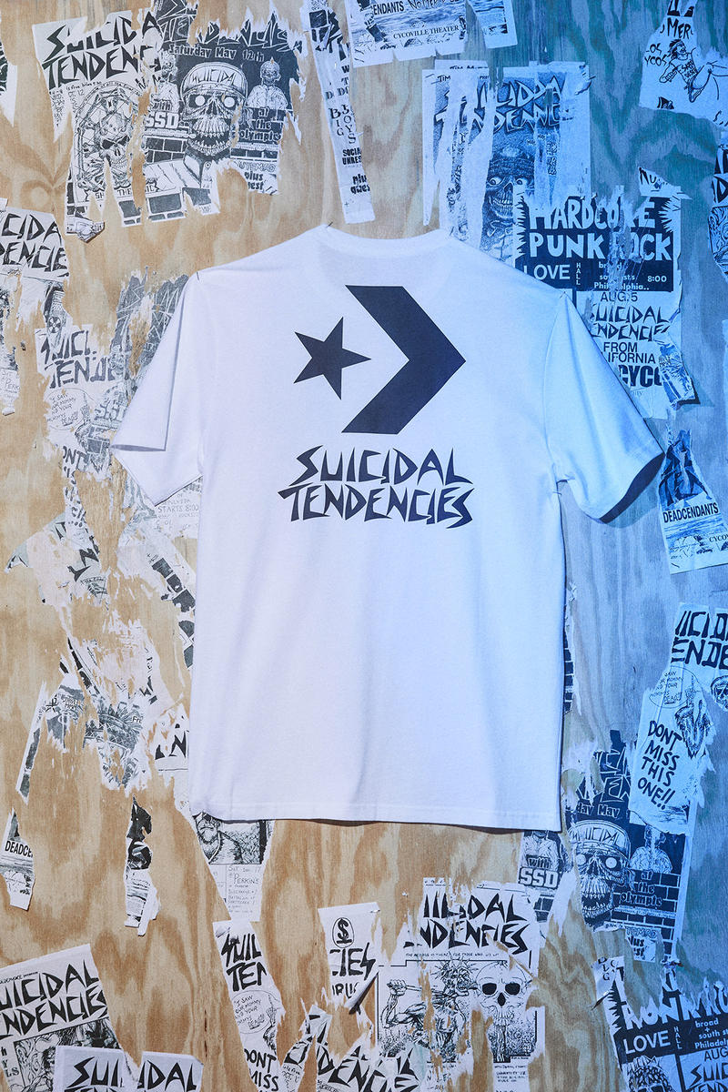 converse suicidal tendences collaboration capsule chuck taylor all star hoodie sweater shirt tee printed screen black white monochrome color september 7 2018