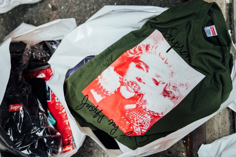 supreme fall winter 2018 drop day madonna tee shirt green bag
