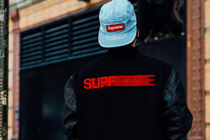 supreme fall winter 2018 drop day varsity jacket motion blur denim hat box logo