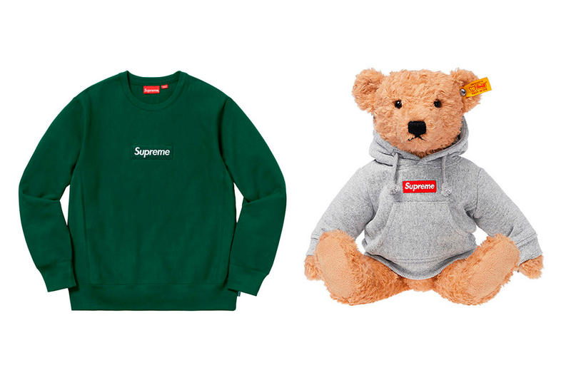 Most Difficult Supreme Fall/Winter 2018 Items to Buy box logo crewneck sweater teddy bear with supreme grey hoodie
