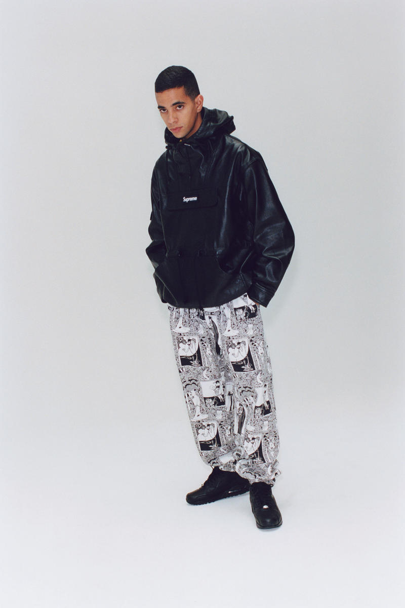 Supreme Fall/Winter 2018 Editorial Shoot Box Logo Graphic Pants Leather Jacket