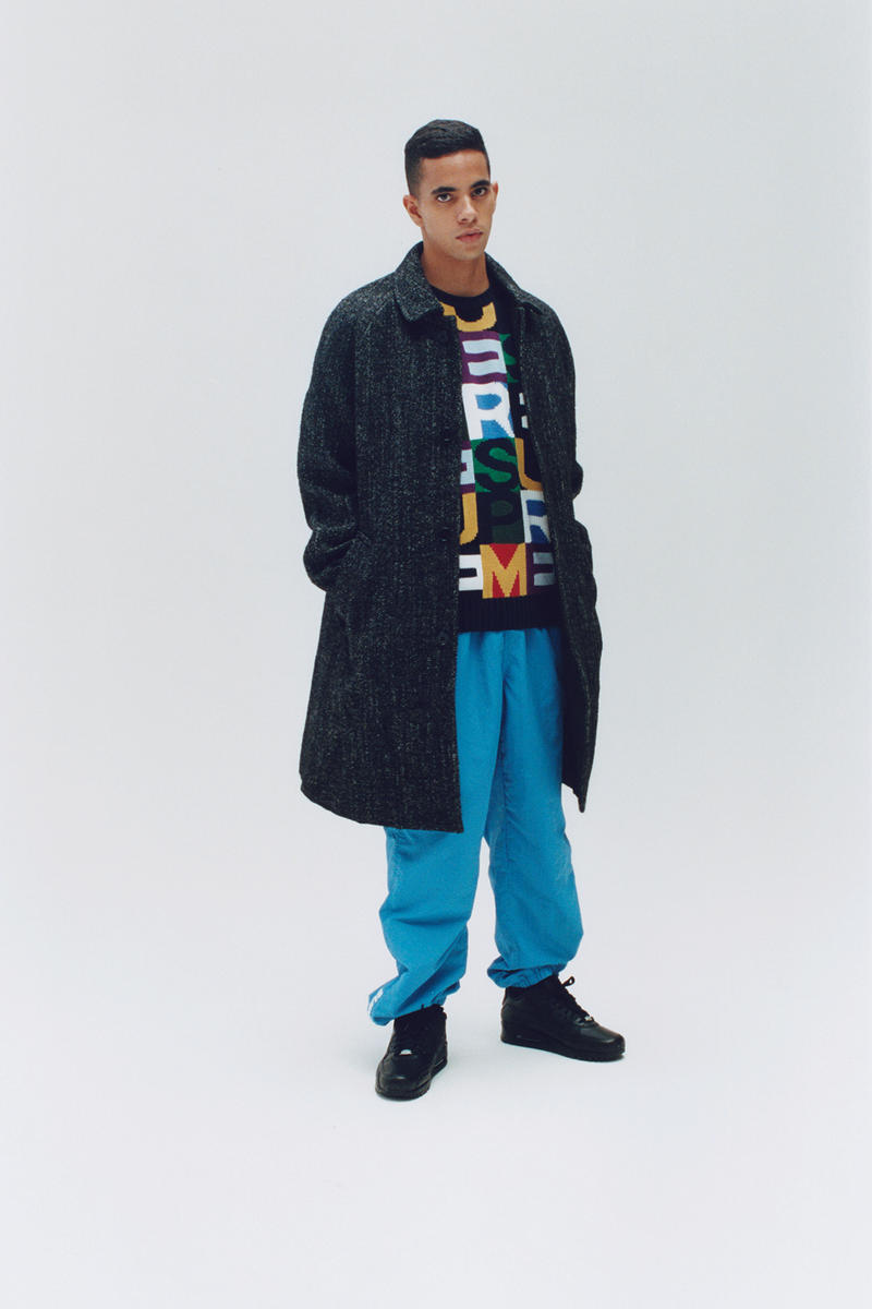Supreme Fall/Winter 2018 Editorial Shoot Jigsaw Puzzle Sweater Pea Coat Blue Pants
