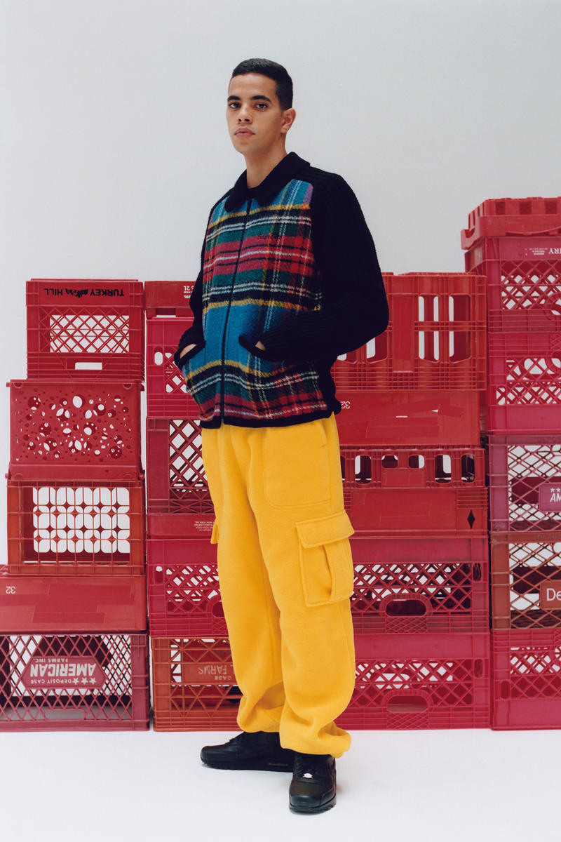 Supreme Fall/Winter 2018 Editorial Shoot Plaid Sweater Yellow Pants Crates