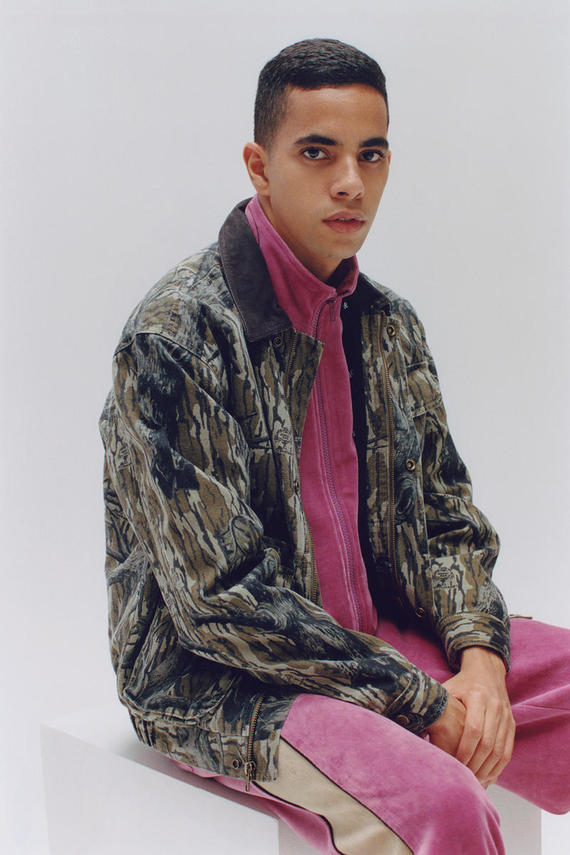 Supreme Fall/Winter 2018 Editorial Shoot Woodland Camo Graphic Jacket Pink Pants