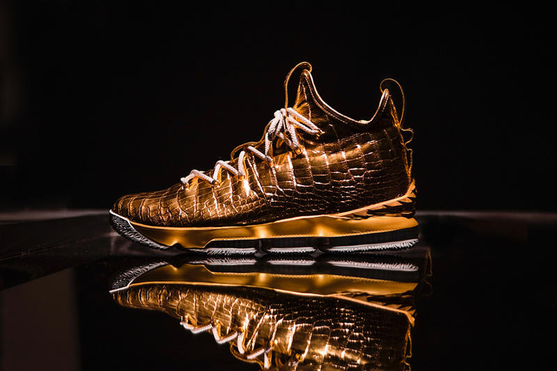 d32214236b3 The Shoe Surgeon Nike Gold LeBron 15 custom sneakers LeBron James nba  basketball