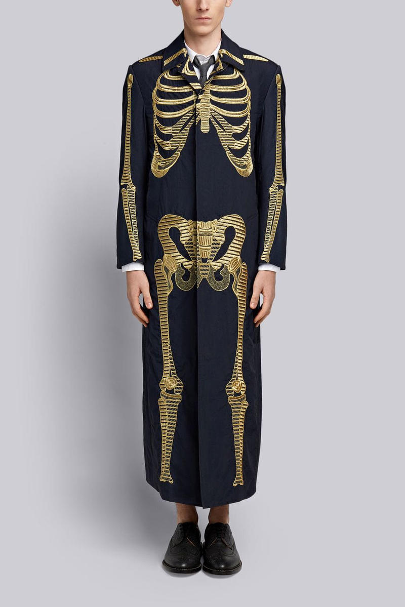 Thom Browne Overcoat W/ Gold Skeleton Embroidery