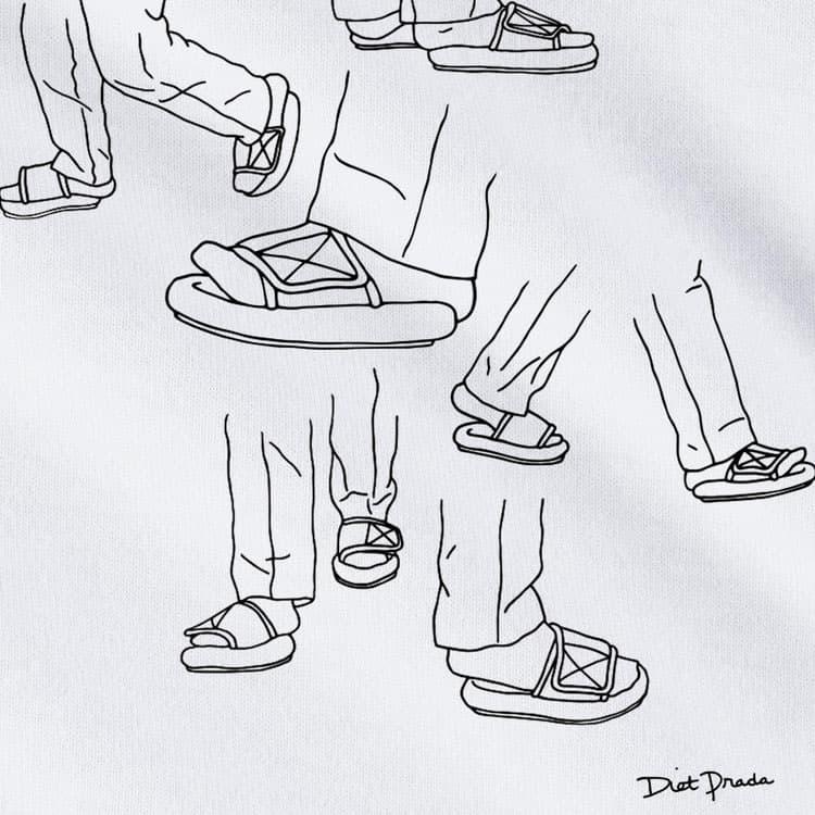 diet prada yeezy kanye west feet sandal slides yeezy white tee shirt artwork drawing