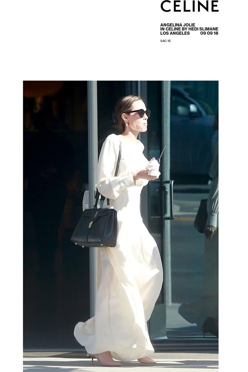 CELINE angelina jolie lady gaga handbag le 16 purse leather satchel bag november 2018 debut premiere launch womenswear menswear collection fashion week paris the hotel colbert address
