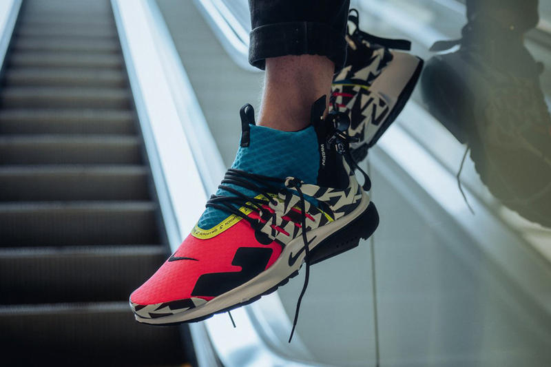 buy online 4236f f7fcd ACRONYM Nike Air Presto Mid On Foot Look Racer Pink Black Photo Blue White  Dynamic Yellow