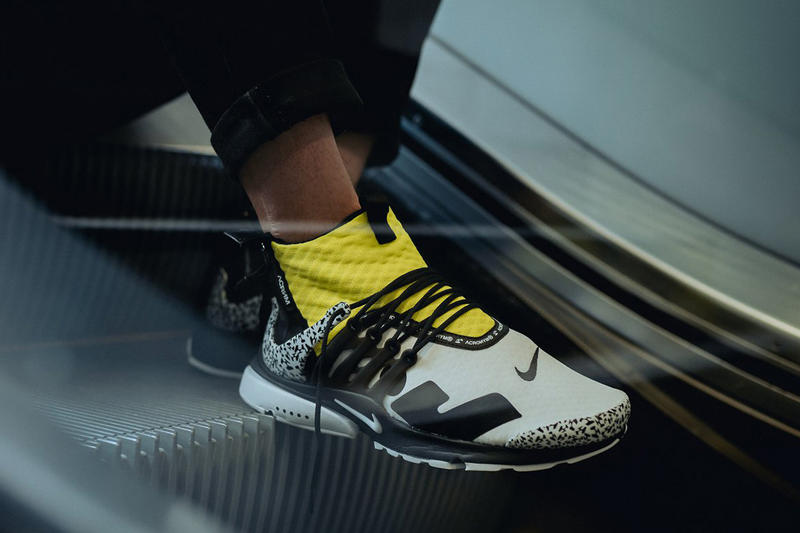 ACRONYM Nike Air Presto Mid On Foot Look Racer Pink Black Photo Blue White Dynamic Yellow Cool Grey
