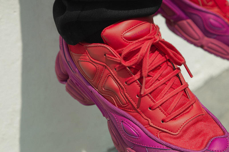 adidas by raf simons ozweego on foot look hbx pink purple