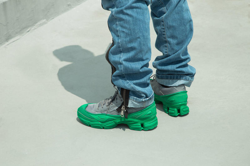 adidas by raf simons ozweego on foot look hbx green grey