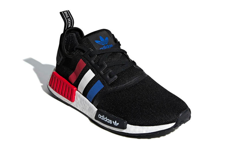sale retailer abdb8 84314 adidas NMD R1 black red white blue release info sneakers
