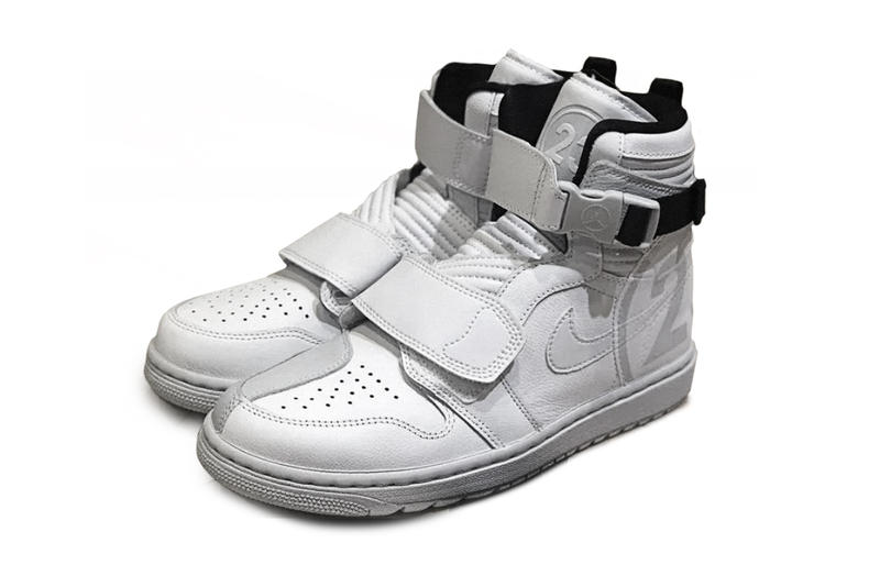 best sneakers b10ce 72d7f Air Jordan 1 Retro High Moto first look white sneaker release details strap  michael motocross motorcycle